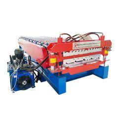 Double Trapezoidal Tile Wall Corrugated Sheet Roll Forming Machine Fully Automatic In 2020 Roll Forming Sheet Metal Roofing Wall Tiles