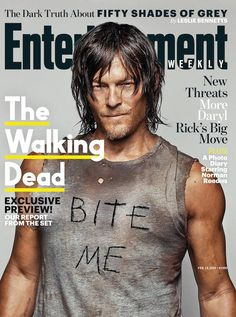 Hot on the heels of his striking L'Uomo Vogue shoot, The Walking Dead actor Norman Reedus graces the latest cover of Entertainment Weekly. Photographed by Dylan Coulter, Reedus is front and center in a dirty, grungy t-shirt that reads 'Bite Me'. The custom t-shirt is currently up for auction at CharityBuzz.com. Proceeds will go to one of Reedus' favorite charities, Oxfam. Related
