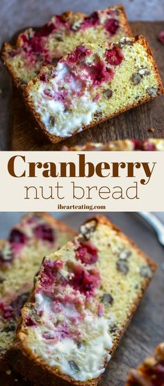 Cranberry Nut Bread Recipe + Video - I Heart Eating - Dessert Bread Recipes Oven Recipes, Healthy Crockpot Recipes, Bread Recipes, Baby Recipes, Retro Recipes, Protein Recipes, Chicken Recipes, Bread Recipe Video, Nut Bread Recipe
