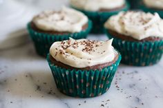 Chocolate stout cupcakes with whiskey-spiked buttercream are a deliciously boozy St. Paddy's treat.