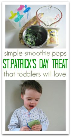 St.Patrick's Day Pops for toddlers made with yogurt and spinach.