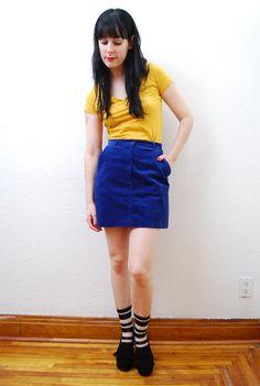 vintage 1970s / indigo blue / corduroy / high waist / by YeYe, $26.00