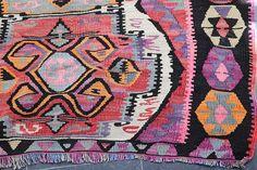 Antique Tribal Kilim Rug 5.3 x 12.9 Faded Kilim Rug FREE
