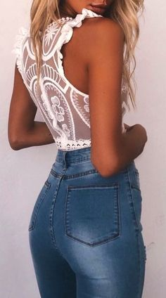 #Summer #Outfits White Crochet Blouse + Jeans