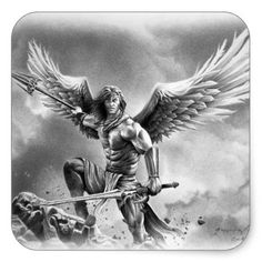 #ANGEL WARRIOR SQUARE STICKER - customized designs custom gift ideas