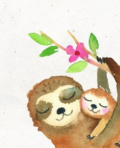 Sloth print Sloth wall art Hanging sloth art Kids room decor Baby and mama sloth Nursery prints Gender neutral Mama love Kids Room Art, Art For Kids, Kids Poster, Hanging Wall Art, Painting For Kids, Nursery Prints, Animal Paintings, Doodle Art, Drawing