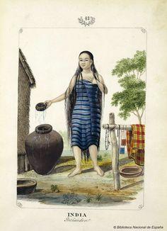 INDIA Bañandose. Lozano, José Honorato 1821- — Dibujo — 1847