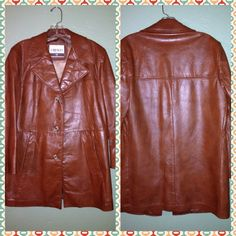 🍂Vintage Brown Leather Blazer Coat Jacket-L/XL 100% Genuine Brown Leather Vintage Coat. This coat is a men's size 38 but can easily fit a women's size L-XL. The measurements are as follows: Chest- 38 inches. Length from shoulder to hem is 31 inches. Sleeve length from shoulder to wrist is 23-24 inches. The brand is Cresco Outwear. Cresco Outerwear Jackets & Coats Blazers
