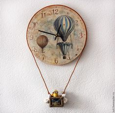 """Купить Часы настенные  """"Путешественники на шаре"""" - голубой, подарок на новоселье, подарок на свадьбу Plastic Bottle Crafts, Wine Bottle Crafts, Plastic Bottles, Homemade Clocks, Decoupage Art, Decoupage Ideas, Best Wall Clocks, Wall Clock Design, Diy Clock"""