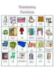 hoja de trabajo Inglés: Vocabulario muebles
