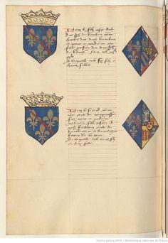 Coat of arms of John I, Duke of Bourbon and of Bonne of Burgundy. Upper. Receuil de la généalogie de la noble maison de Luxembourg.