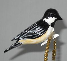 black capped chickadee christmas ornament hand carved clip on decoration - Bird Christmas Decorations