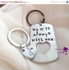 """Broken Heart Key chains """"My heart is always with you"""" Key Chains Couple Key Chains Jewelry BFF Keychains boyfriend Present Couple Jewelry"""