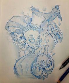 Voodoo thema #ozer #tattoo #tatouage #ironink #nantes #loveletters #graffiti #skull #crow #marielaveau #voodoo