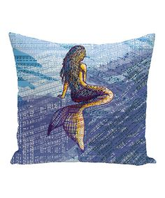 Love this Blue Mermaid & Music Note Throw Pillow on #zulily! #zulilyfinds