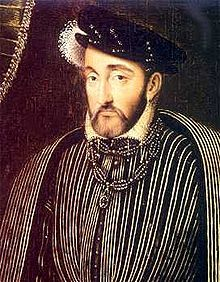 Henri II (1519 - 1559). King of France from 1547 to 1559. He married Catherine de Medici and had eight surviving children. His mistress,  Diane de Poitiers, had tremendous influence on him. He died after getting a lance to the eye while jousting.