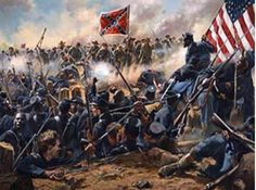 Mahone's men of the Virginia Infantry charge troops of Burnside's Corps during the Battle of the Crater, Petersburg, Virginia July Union troops are shown in the foreground with the - Visit to grab an amazing super hero shirt now on sale! Military Art, Military History, American Civil War, American History, American Soldiers, Siege Of Petersburg, Civil War Art, Confederate States Of America, Confederate Flag