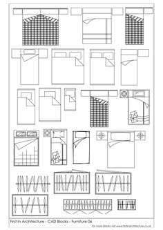 Architectural Drawing Design Here is another set of free cad blocks from the First In Architecture Cad Block database. We hope you find them useful. Please feel - A selection of free cad blocks, featuring beds and wardrobes Architecture Symbols, Architecture Blueprints, Interior Architecture Drawing, Interior Design Sketches, Architecture Plan, Library Architecture, Floor Plan Symbols, Drawing Furniture, Planer
