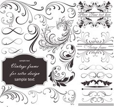 Set of vector floral frames and embellishment elements with ornate swirls and curls, flourish elements, vintage frames, dividers, borders for your classic designs of cards, brochures, vintage invitations, banners, etc. Format: Ai, Tif stock vector clip art and illustrations. Free…
