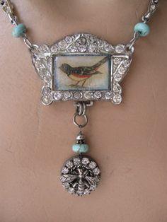RESERVED Birdsong... antique paste vintage assemblage necklace