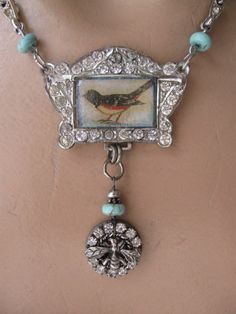 RESERVED Birdsong... antique paste vintage assemblage necklace