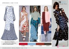 Dresses flat drawings, vector technical sketches for Fall winter 2017-18 Trend forecasting by 5forecaStore