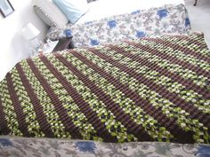 Diagonal Box Stritch afghan. 4 rows brown and 6 rows camo.