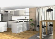 Vorschlag Küche mit Hochtisch und Sitzbank 3D-visualisiert Modern, Divider, 3d, Room, Furniture, Home Decor, Environment, Banquette Bench, Oak Tree