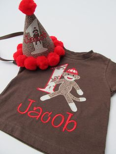Wish i would of seen this a couple months ago lol :: Personalized Sock Monkey Birthday Shirt Set by FunnyFarmCreations, $42.00