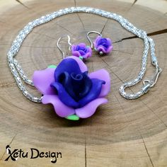 Rose set - handmade polymer clay flowers necklace and earrings by XetuDesign on Etsy Polymer Clay Flowers, Clay Design, Handmade Polymer Clay, Handmade Silver, Color Mixing, Iridescent, Washer Necklace, Opal, Miniatures