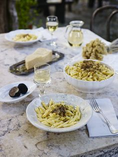"""Homemade Istrian pasta """"fusi"""" (fuži) with truffles from a local forrest.  Love Croatia!"""