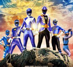 Blue rangers. Legendary power rangers.