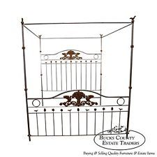 Exceptional Quality Louis XV Style Silver Gilt King Iron Poster Canopy Bed