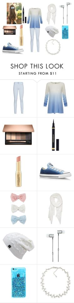 """Blue and White"" by themadhatterxox ❤ liked on Polyvore featuring 7 For All Mankind, Joie, Yves Saint Laurent, Napoleon Perdis, Converse, Decree, Calvin Klein, Master & Dynamic and Carolee"