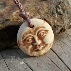 Moon Face Bead Pendant Charm Handmade Ceramic by cindysartandsoul