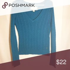 American eagle large blue sweater Size large! Blue with v neck sweater! Very cute and flattering! Make an offer! American Eagle Outfitters Sweaters V-Necks