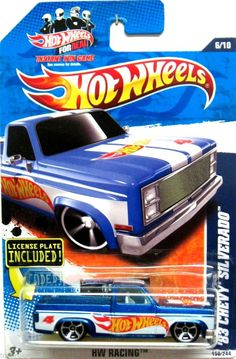 1983 Chevy Silverado Hot Wheels 2010 HW Racing #166/244 Blue/White #4 LICENSE #HotWheels #Chevrolet