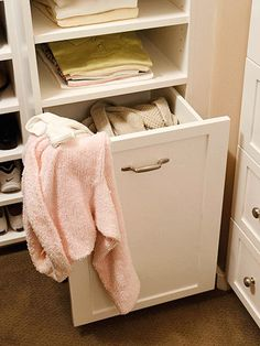 Blend In             Closets lead to dirty clothing, so why not designate a place for all this dirty laundry? A deep pullout bin keeps dirty clothes off the floor and out of sight