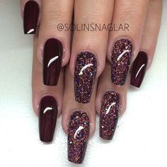 Dark Red Acrylic Square Tip Nails w/ Dark Red Glitter
