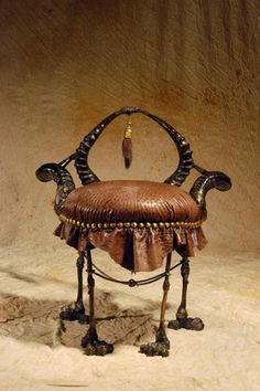 African Chairs | STRANGE AFRICAN MADE FURNITURE - SKINS, TUSKS & HORNS! - OSTRICH ..