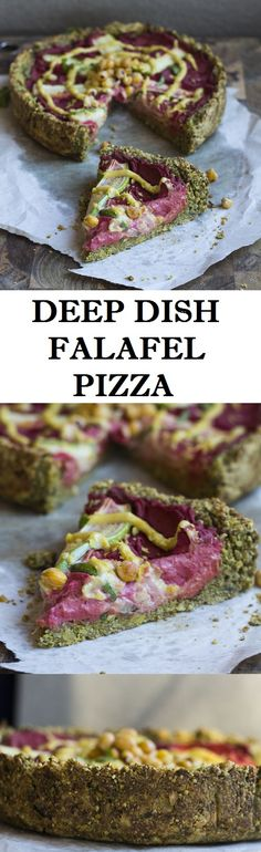 Deep dish falafel pizza filled with beetroot hummus