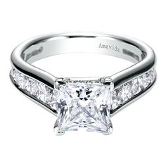 Princess Cut Engagement Ring with Channel Set Band by Gabriel & Co. Princess Cut Engagement Ring with Channel Set Band by Gabriel & Co. This White Gold Ring can accomodate center stone, not included. Engagement Solitaire, Engagement Ring Buying Guide, Wedding Rings Solitaire, Engagement Ring Cuts, Bridal Rings, Princess Wedding Rings, Princess Cut Rings, Princess Cut Engagement Rings, Princess Cut Diamonds