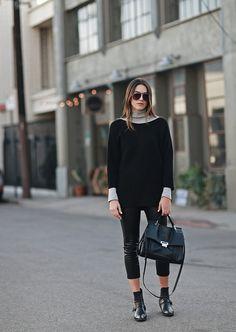 Turtleneck: FOREVER 21 Sweater: Thrifted Leggings: TOPSHOP  Booties: ZARA  Handbag: IVANKA TRUMP