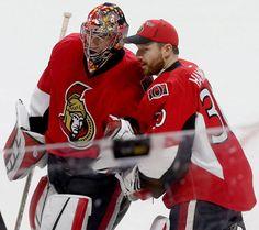 Ottawa Senators goalies Craig Anderson and Andrew Hammond. Hockey Teams, Hockey Players, Ice Hockey, Craig Anderson, National Hockey League, Ottawa, A Team, My Boys, Nhl