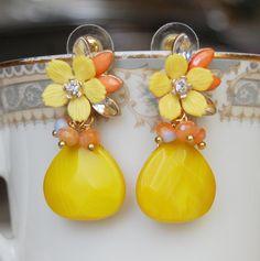 Yellow Post Dangle Earrings  Yellow Orange by CoolJewelCreations