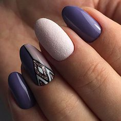 and Beautiful Nail Art Designs Cute Nail Art Designs, Purple Nail Designs, Tribal Designs, Purple Nails, Matte Nails, Pink Purple, Hair And Nails, My Nails, Pinterest Nail Ideas