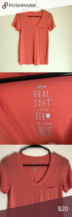 Salmon Peach Xs Aerie Real Soft Tee A extra small aerie salmon peach colored short sleeve tee with breast pocket is super soft, stretch fabric, and never been worn. I'm pasty white and red headed so it was doomed from the start to fail me. I have six others in different colors and they are my fave tees so soft and versatile. Same day ship, discount on bundles, free gift with purchase of $25 or more. aerie Tops