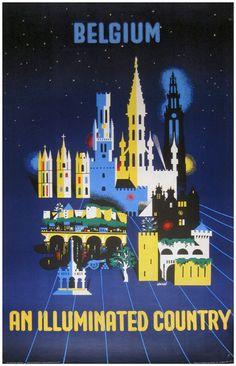 Belgium ● An Illuminated Country #Travel #Tourism #Poster 1970