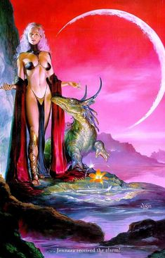 """Boris Vallejo & Julie Bell - Julie Bell : """"Jennera Received The Alarm"""" Boris Vallejo, Fantasy Dragon, Fantasy Warrior, Dragon Art, Dragons, Art Visionnaire, Science Fiction Kunst, Julie Bell, Fantasy Art Women"""