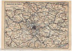 BANLIEUE DE PARIS FRANCE SEINE ANTIQUE TRAVEL CITY MAP WAGNER & LEIPZIG 1909